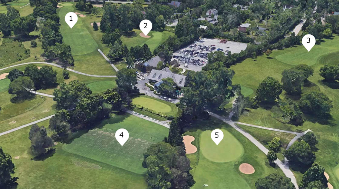 Aerial view of the camp layout at Deerpath Golf Course